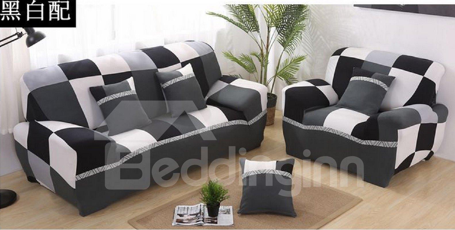 Black And White Pattern Anti Slip Water Resistant Sofa Slipcover