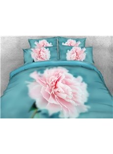 Pink Flower Blooming 3D Blue Printed Cotton 4-Piece Bedding Sets