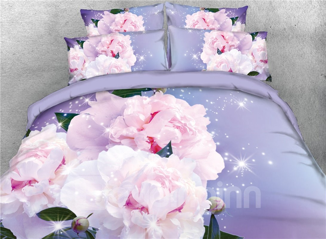 Vivilinen Blooming Flower 3D Light Purple Printed Cotton 4-Piece Bedding Sets