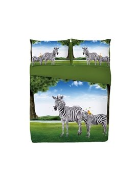 Onlwe Zebra in Green Meadow 3D Printed 4-Piece Blue Bedding Sets/Duvet Covers