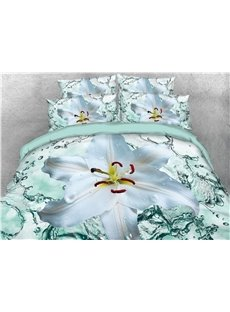 White Flower and Water 3D Printed Cotton 4-Piece Bedding Sets