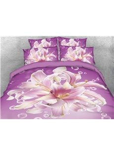 Onlwe Floral Pattern Purple 3D Printed Cotton 4-Piece Bedding Sets