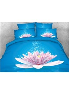 Onlwe 3D Glittering Flower Blooming in Blue Background Printed Cotton 4-Piece Bedding Sets