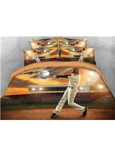 Player Hits Baseball on the Court 3D Printed Cotton 4-Piece Bedding Sets