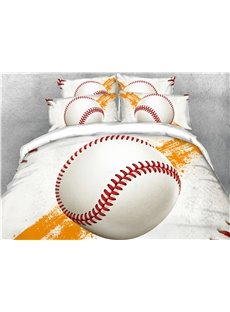 Onlwe Baseball White 3D Printed Cotton 4-Piece Bedding Sets