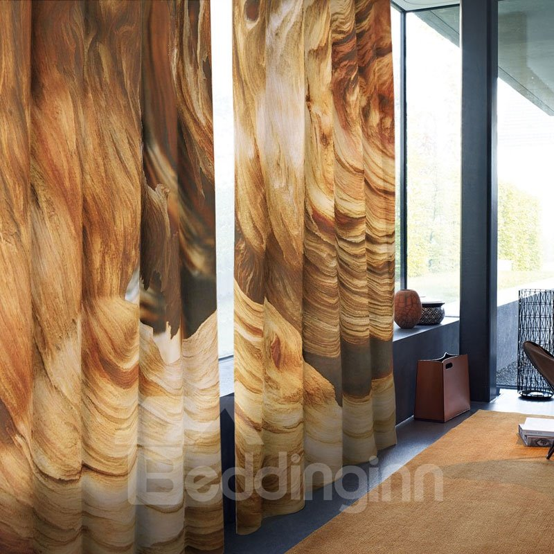 3D Room Darkening Brown Free Hooks Polyester Curtain