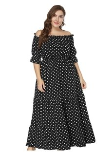 Polka Dots Pattern Slash Neck Expansion Silhouette Knitted Fabrics Plus Size Dress
