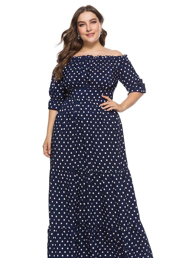 Polka Dots Pattern Slash Neck Expansion Silhouette Knitted Fabrics Plus Size Dress