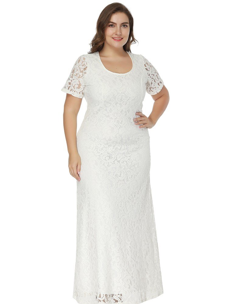 A-Line Silhouette Ankle-Length Lace Material Round Neck Plus Size Dress