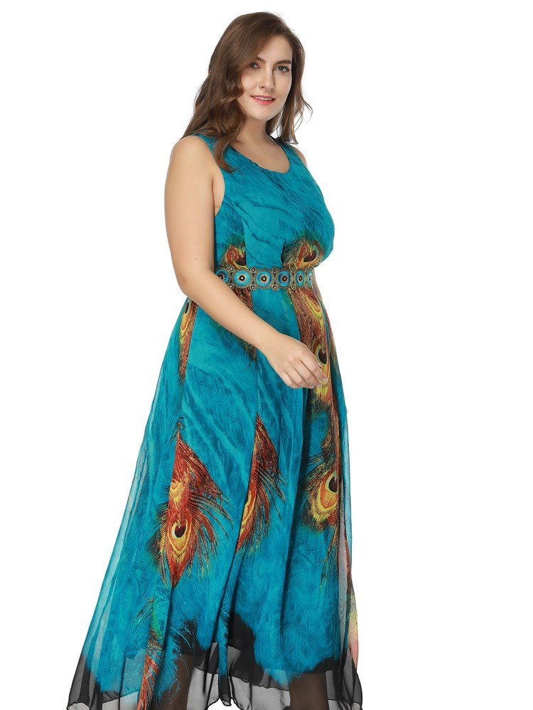 Chiffon Material Ankle-Length Round Neck Expansion Silhouette Plus Size Dress