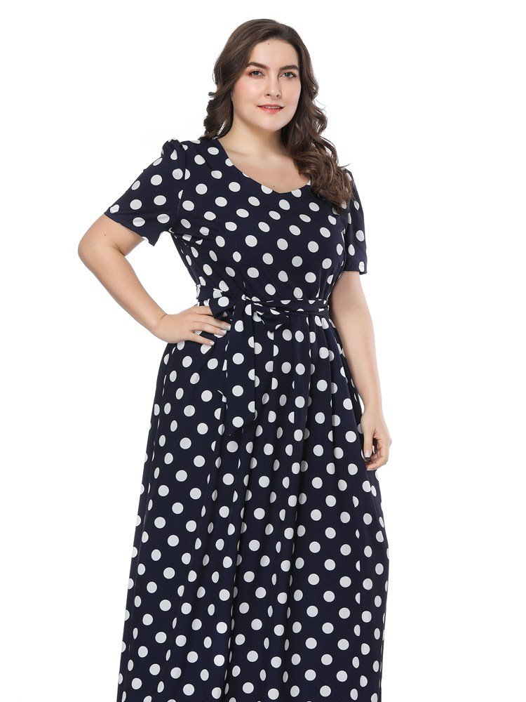 Polka Dots Pattern Woven Fabric Material V-Neck Short Sleeve Plus Size Dress