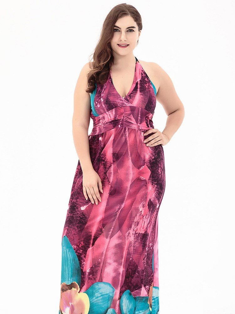 Ankle-Length High-Waist V-Neck Expansion Silhouette Meryl Material Plus Size Dress