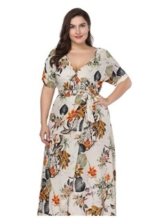 Expansion Silhouette Round Neck Ankle-Length Short Sleeve Plus Size Dress
