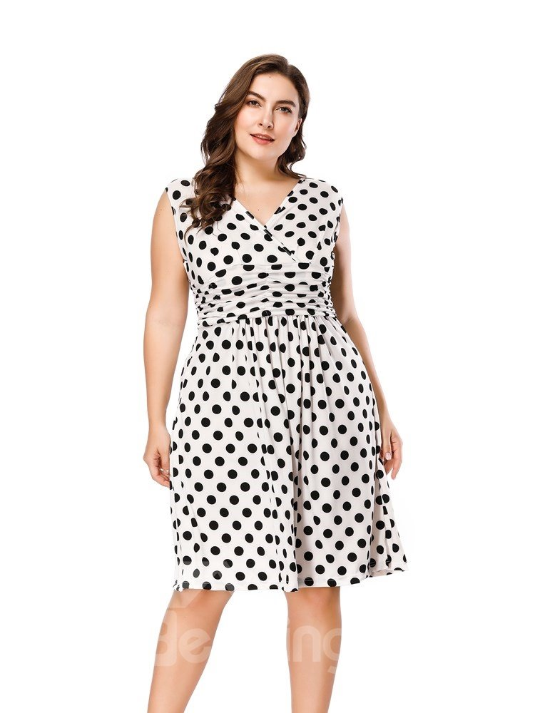 Polka Dots Pattern Woven Fabric Material V-Neck Above Knee Length Plus Size Dress
