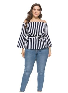 Stripe Pattern Slash Neck Style Loose Model Summer Season Plus Size Blouse