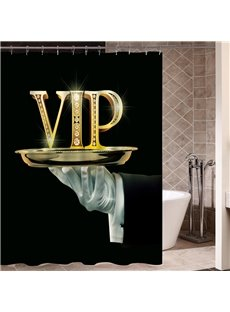VIP Pattern Eco-friendly Material Mildew Resistant Anti-Bacterial Shower Curtain