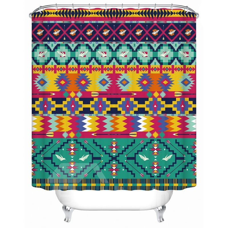 Geometric Pattern Eco Friendly Material Waterproof Shower Curtain