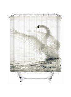 Swan Pattern Polyester Material Mildew Resistant Waterproof Shower Curtain