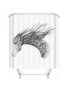 Crazy Horse Pattern Moist Resistant Polyester Material Waterproof Shower Curtain