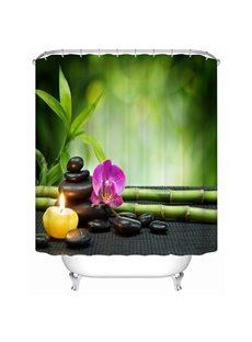 Butterfly Orchid Pattern Polyester Material Mildew Resistant Bathroom Shower Curtain
