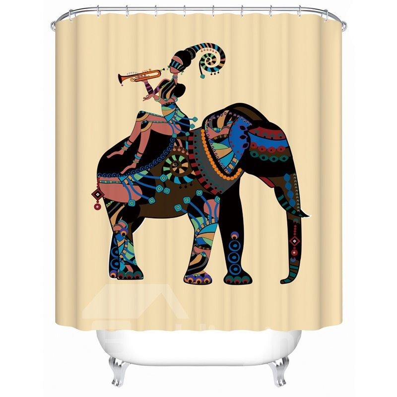Girl&Elephant Pattern Anti-Bacterial Waterproof Mildew Resistant Shower Curtain