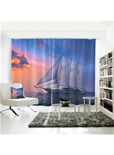 Blue Room Darkening Sailing Sea Pattern 3D Curtain