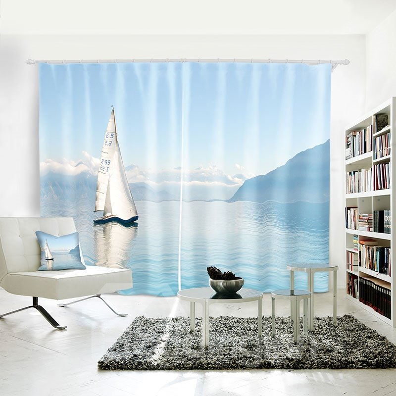 Blue Sailing Sea Pattern Polyester 3D Curtain