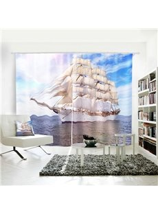 3D Vivid Blue Sky Sea Sailing Symbol of Power Curtain