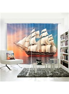 3D Vivid Sailing in Sunset Symbol of Success and Joy Curtain
