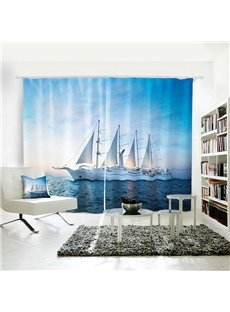 3D Vivid Blue Sky and Sea White Sailing Symbol of Bright Future Curtain
