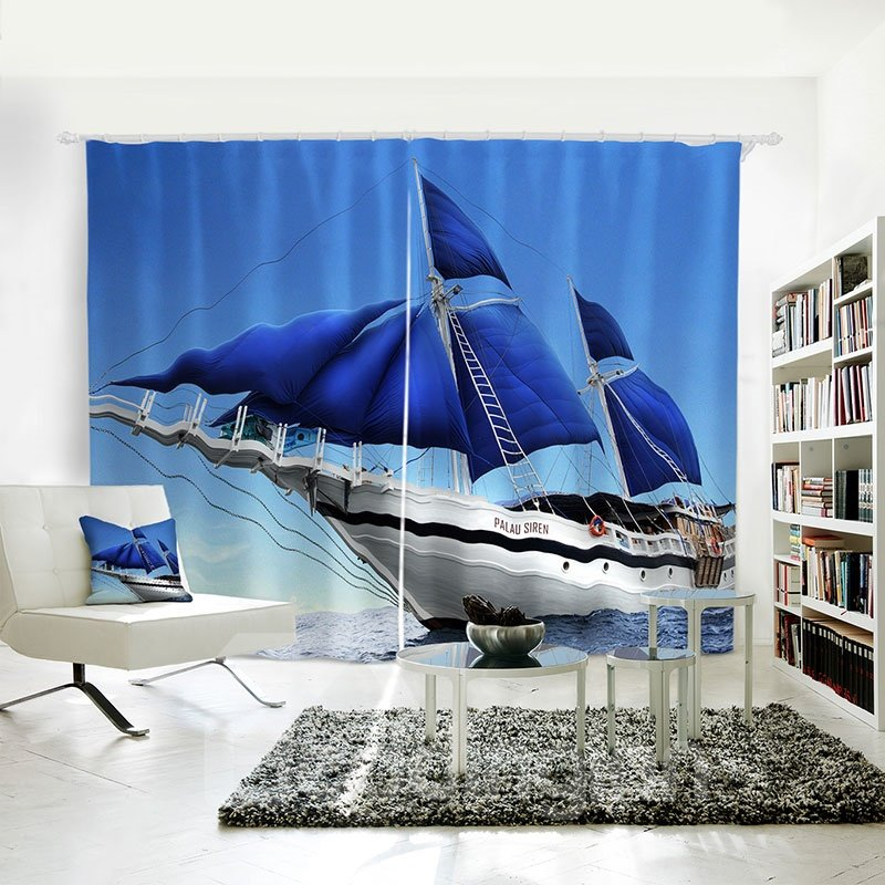 Beddinginn Polyester Blue Sky Sea Sailing Symbol Of Inspire Curtain Vivid 43342