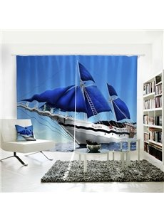 3D Vivid Polyester Blue Sky Sea Sailing Symbol of Inspire Curtain