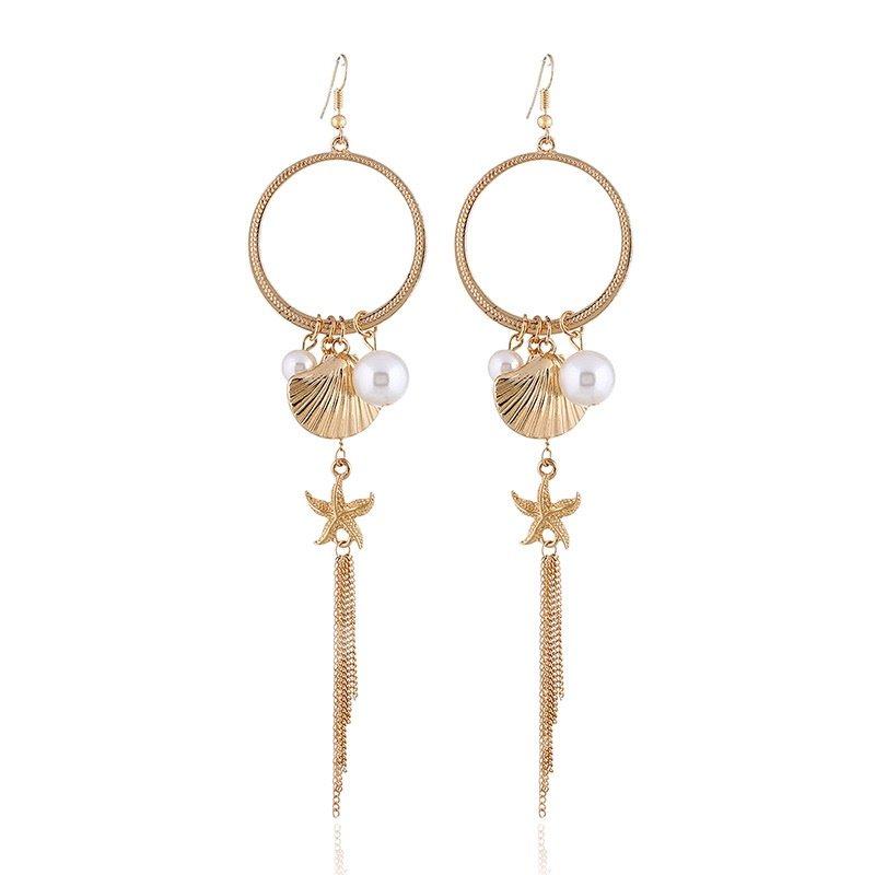 European Style Ear Hook Star Fish Shell Pearl Alloy Earring