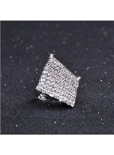 Alloy Geometric Diamante Technic Rhombus Shape Unique Ring