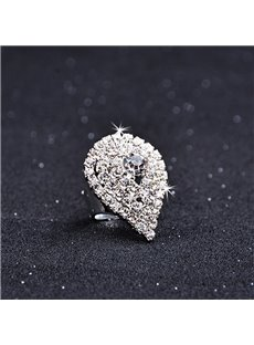 Female Alloy Water Drop Diamante Technic Korean Style Ring