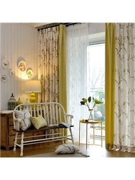 Jacquard Technics Polyester Material Branch Pattern European Style Curtain Sets