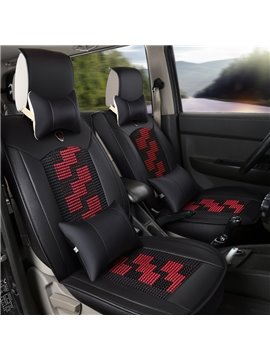 Geometric Pattern PU Material Cotton Filler Single Car Seat Covers