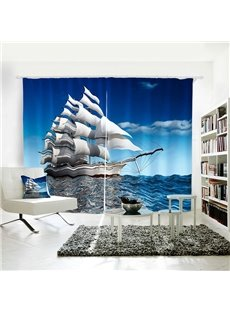 Blue Sky Sea Sailing 3D Vivid Symbol of Power Curtain