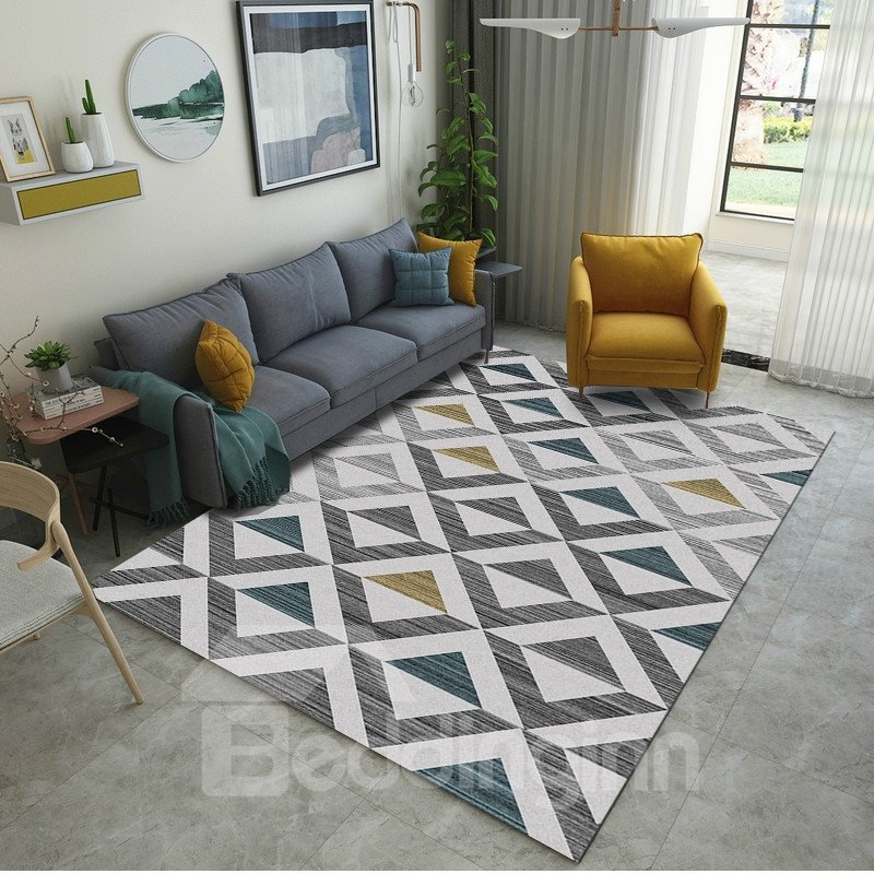 Geometric Pattern Crystal Material Modern Style Rectangle Shape Area Rug