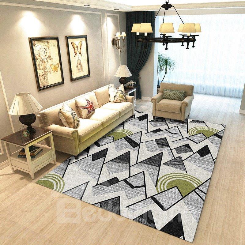 Modern Style Geometric Pattern Crystal Velvet Material Area Rug