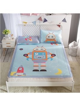 Cartoon Robot and Rocket Digital Printing Cooling 3-Piece Summer Sleeping Mat Sets