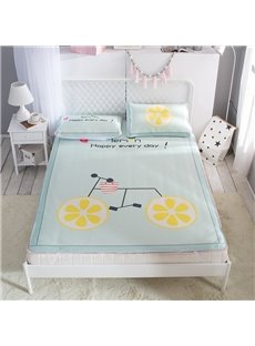 Lemon Bicycle Polyester Light Green Digital Printing 3-Piece Summer Sleeping Mat Sets