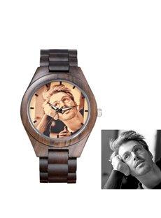 Ebony Material Circular Dial Personalized Custom Quartz Watch