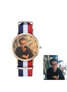 Preppy Chic Cloth Watchband Rosegold Dial Personalized Custom Quartz Watch
