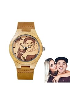 Couple Gift Bamboo Dial Personalized Custom Quartz Watch