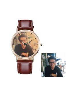 Classic Design Metal Dial PU Watchband Personalized Custom Quartz Watch