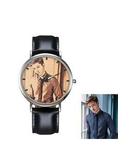 Metal Dial Black PU Watchband Personalized Custom Quartz Watch