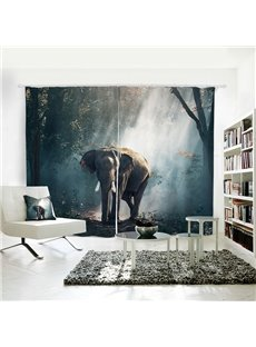 Elephant Pattern 3D Animal Painted Polyester 2 Panels Curtain