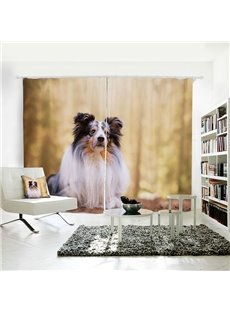 Vivid Dog Pattern 3D Animal Painted Polyester 2 Panels Curtain