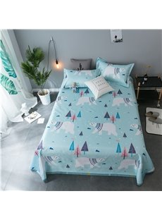 White Bear in the Forest Light Green Polyester Cooling Printing 3-Piece Summer Sleeping Mat Sets
